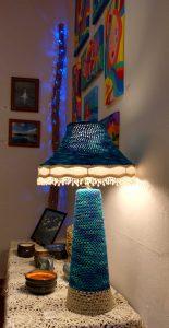 Crocheted  Lamp by Zoe Rhyne, Acrylics- bp