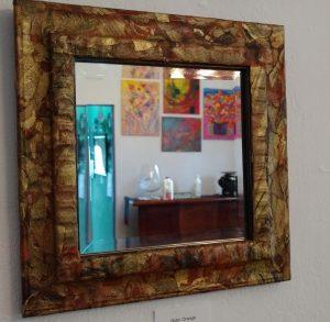 Gold Orange Mirror by Pat Muhlbauer