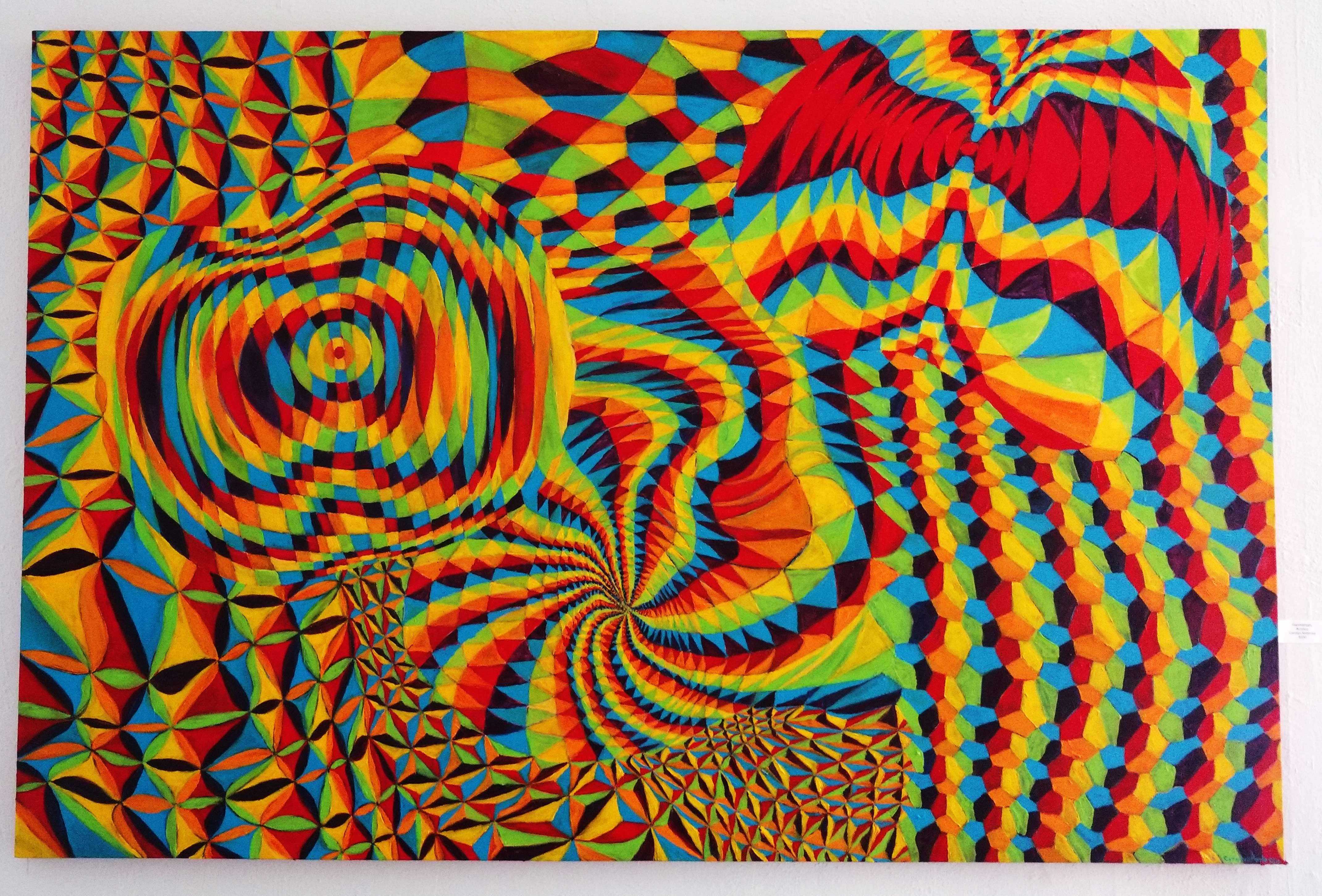"'Geomatrippy"" Acrylic on Canvas by Caroline Ambrose"