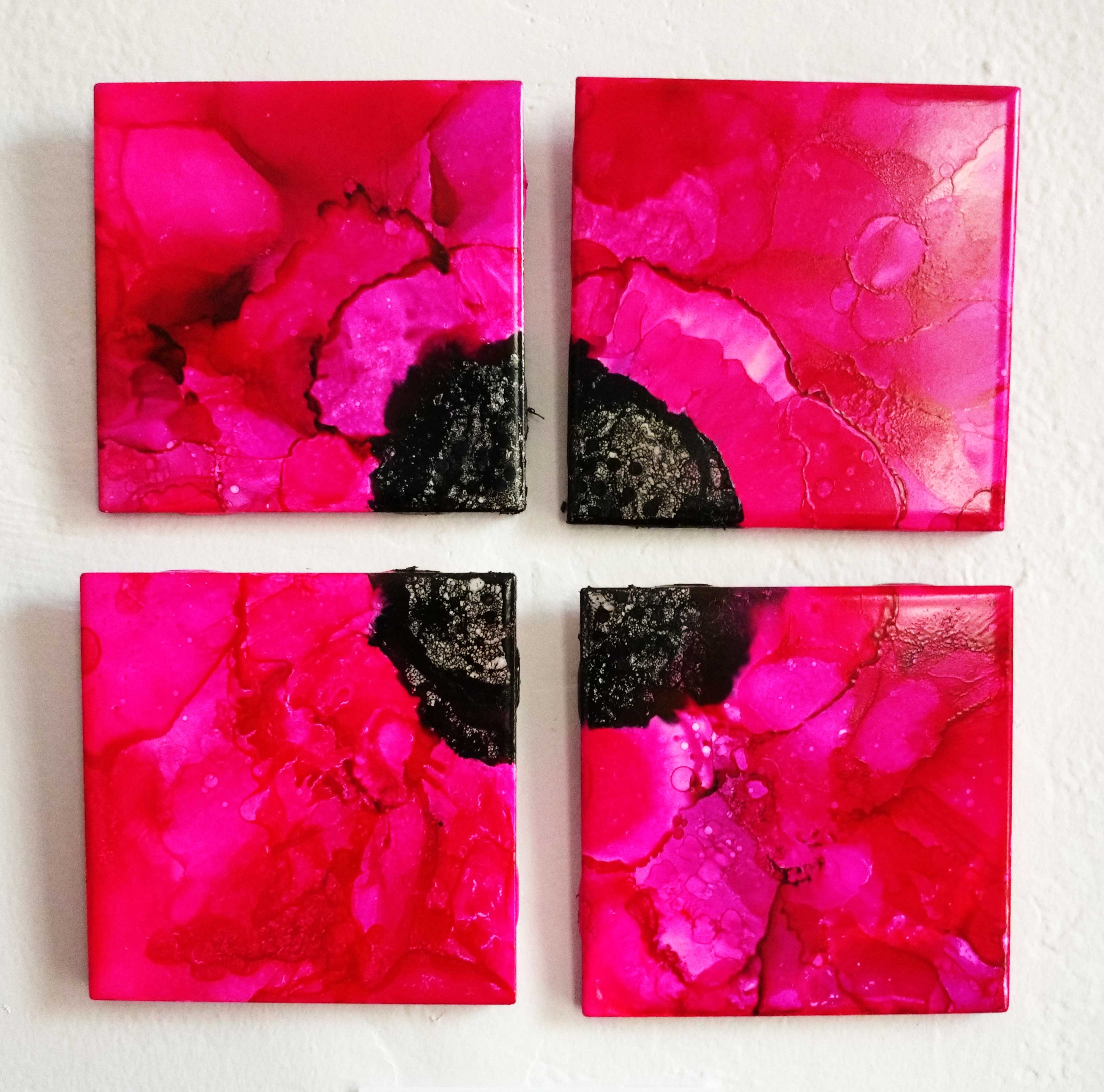 'Pink Floral Series' Alcohol Ink on Tile by Barbara Achord